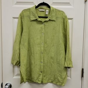 French Laundry Linen Silk Embroidered Green XL